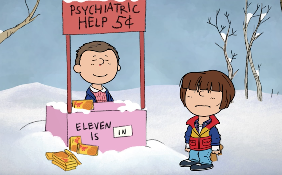 animação de 'Stranger Things' Snoopy Charlie Brown