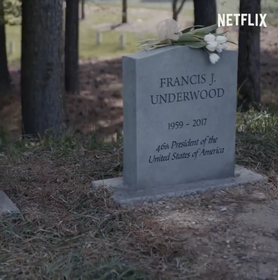 "Túmulo de Frank Underwood aparece em novo teaser de ""House Of Cards"""