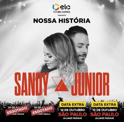 Sandy e Junior anunciam mais dois shows extras em São Paulo